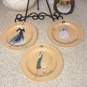 Vintage Set Of 3 Dessert Plates By Rosanna